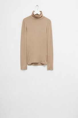 French Connection Venetia Jersey Split Cuff Roll Neck Top Camel - XS
