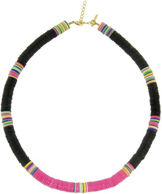 Allthemust Large Black and Hot Pink Heishi Bead Necklace - Yellow Gold