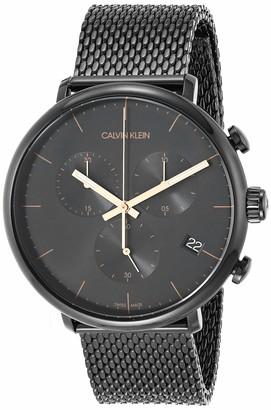 Calvin Klein High Noon Men's Chrono Black PVD Mesh Bracelet with Black Dial Watch (Model: K8M27421)