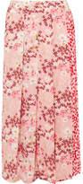 Mother of Pearl Kenzie Pleated Printed Silk-crepe Wrap Midi Skirt