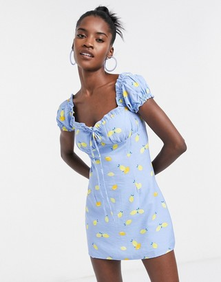 Glamorous milk maid mini dress with ruched bust in lemon print