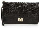 Brahmin 'Lily' Croc Embossed Leather Clutch - Black