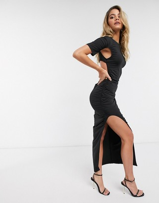 Lioness thigh split maxi dress in black