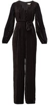 Beulah - Aaloka Striped Devore-velvet Jumpsuit - Womens - Black