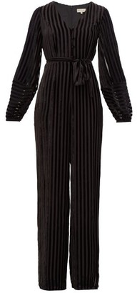 Beulah Aaloka Striped Devore-velvet Jumpsuit - Black