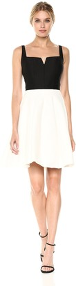 Halston Women's Sl Geo Neck Color Blckd Silk Faille Dress
