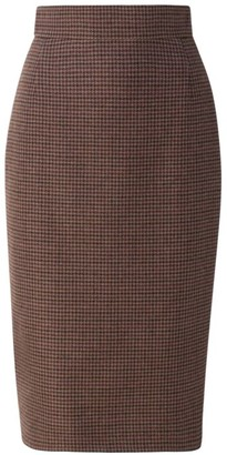 Akris Cashmere Check Pencil Skirt