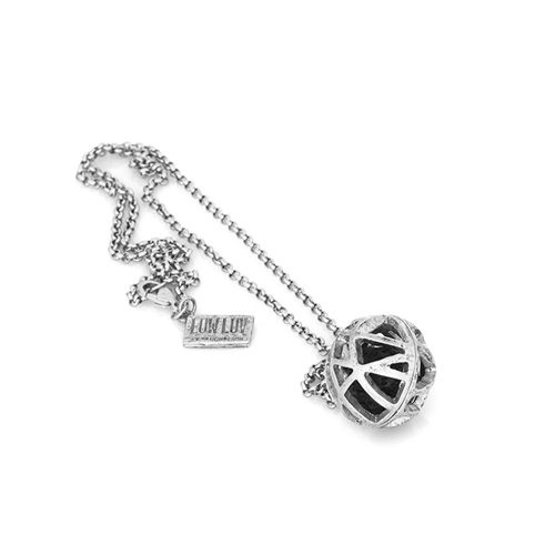 Low Luv x Erin Wasson Silver Cage Sphere Lava Ball Necklace