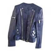 Balmain Blue Leather Jacket