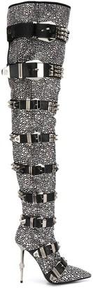 Philipp Plein crystal-embellished knee-high boots