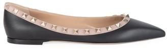 Valentino Rockstud Point-Toe Leather Ballerina Flats