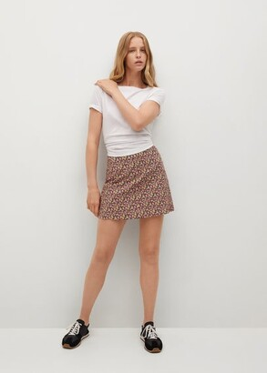 MANGO Floral print miniskirt