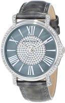 Anne Klein Women's AK/1347GMGY Swarovski Crystal Accented Pave Dial Strap Silver-Tone Watch
