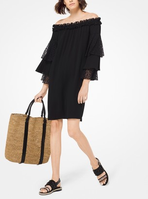 Michael Kors Collection Silk-Georgette and Lace Off-The-Shoulder Dress