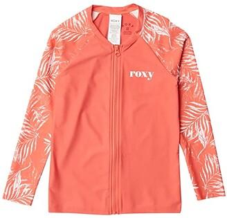 Roxy Kids Your Magic Long Sleeve Zip Rashguard (Big Kids) (Deep Sea Coral Lirely) Girl's Swimwear