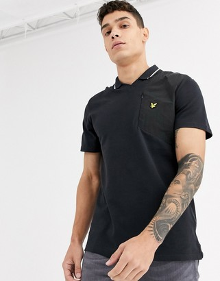 Lyle & Scott fabric mix football polo shirt-Black