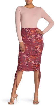 4SI3NNA the Label Vivian Floral Print Ruched Skirt