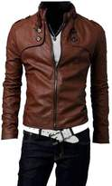 ZAWAPEMIA Mens Stand Collar Faux-Leather Motorcycle Rider Jacket S