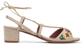 Tabitha Simmons Lori Meadow Floral-embroidered Linen Sandals - Beige