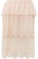 Simone Rocha Asymmetric Embroidered Lace Midi Skirt - Womens - Beige