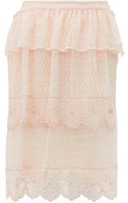 Simone Rocha Asymmetric Embroidered Lace Midi Skirt - Beige