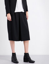 Y's Ys Wide cropped high-rise wool trousers