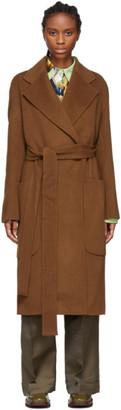 Acne Studios Brown Double Wool Belted Coat