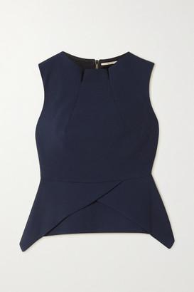 Roland Mouret Wynn Asymmetric Wool-crepe Peplum Top - Navy