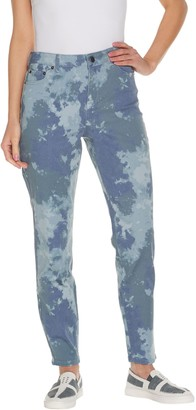 Logo by Lori Goldstein Petite Printed Stretch Twill Ankle Jeans
