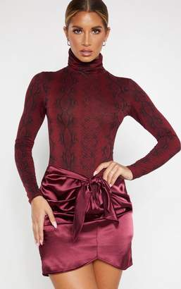 PrettyLittleThing Charcoal Satin Knot Front Mini Skirt