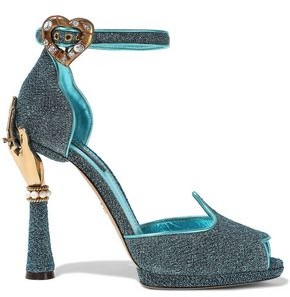 Dolce & Gabbana Bette Embellished Glittered Metallic Leather Sandals