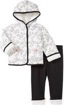 Little Me Bird Toile Jacket Set (Baby) - White/Black-6 Months
