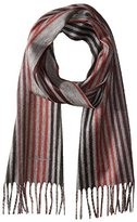 Salvatore Ferragamo Men's Zarro Multi-Stripe Scarf, Black Cherry/Grigio