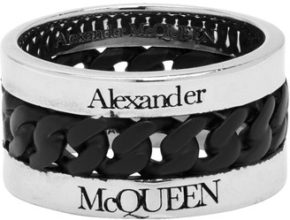 Alexander McQueen Silver and Black Chain Ring