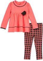 Kids Headquarters Pink & Black Rosette Tunic & Leggings - Toddler & Girls