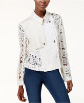 Rachel Roy Cropped Lace-Contrast Trench Jacket, Created for Macy's