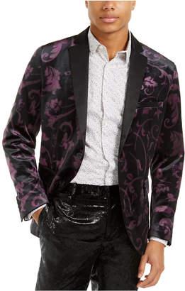 INC International Concepts I.n.c. Men Big & Tall Slim-Fit Velvet Floral Blazer