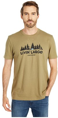 Life is Good Livin' Large Camp Crusher Tee (Fatigue Green) Men's Clothing