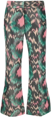 Marni Abstract Print Flared Trousers