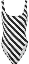 Norma Kamali Striped Swimsuit - Black