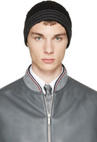 Thom Browne Black and Grey Cashmere Cable Knit Beanie