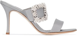 Manolo Blahnik Gable Jewel 90 double strap mules