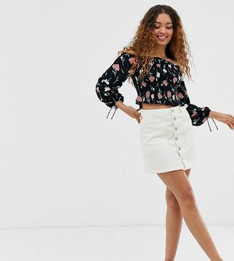 Miss Selfridge Petite cord skirt in white-Cream