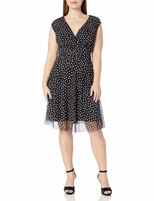 London Times Women's Plus Size Cap Sleeve Fit & Flare Dress w. Drop Waist Skirt