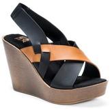 Muk Luks Women's Beth Quarter Strap Wedge Sandals - Cognac