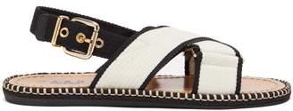 Marni Bi-colour Canvas Slingback Sandals - Womens - Black Cream
