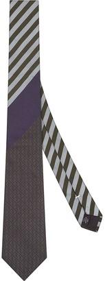Fendi Stripe Print Silk Tie