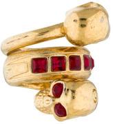 Alexander McQueen Crystal Double Skull Ring