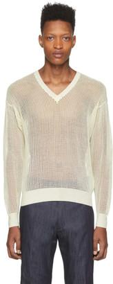 DSQUARED2 Off-White Mesh V-Neck Sweater