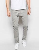 Asos Stretch Slim Jeans In Light Gray